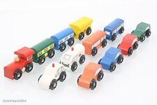 Holzeisenbahn Fahrzeug-Set Holz Zug Ersatzteile Ergänzung Eisenbahn Set Autos