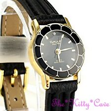 Omax Ladies Slim Seiko Movt Cut Glass Mineral Gld Plt Leather Swiss Watch 8N8056