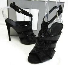 $2170 TOM FORD black sequin & suede strappy sandal heels shoes sz 37 6