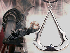 Assassin's Creed Silver Pendant Necklace PU Leather Chain Jewelry Xmas gift XX