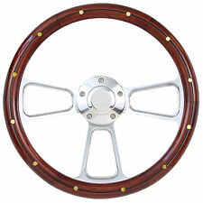Hot Rod Street Rod Rat Rod Truck Real Wood & Chrome Steering Wheel & Horn