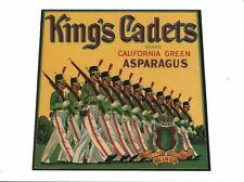 POST CARD OF VINTAGE ADVERTISING LABEL FROM FRUIT CRATES KING'S CADETS ASPARAGUS