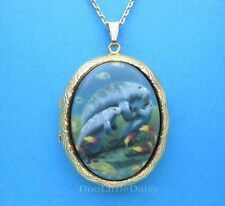 Manatee Cute Porcelain Manatees Cameo Locket Pendant Necklace Mother's Day Gift