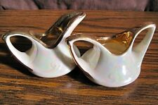 MINI SUGAR & CREAMER Set, White Pearl Irridescent Luster With Gold Trim Vintage