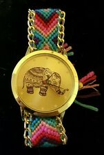 ELEPHANT TRUNK UP GOLD TONE WATCH CHEVRON WEAVE STRAP