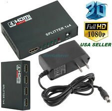 Full HD HDMI Splitter 1X4 4 Port Hub Amplifier Repeater v1.4 3D 1080p 1 in 4 out