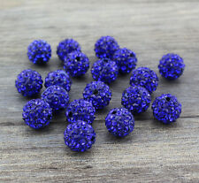 Wholesale 100 Pcs Cz Crystal Shamballa Beads Pave Disco Balls Sapphire Blue 10MM