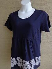 Being Casual Cotton Blend Jersey Knit S/S Baby Doll Top L Navy
