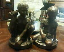 """Boy with Dog"" & ""Girl with Cat"" 1974 Vintage Bronze Sculptures by Charles Parks"