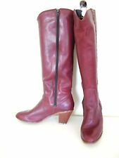 Vintage 70s burgundy leather cowboy western knee high zip boots UK 5 5.5 38 38.5