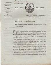 1799 DOCUMENT A ENTETE REVOLUTION MINISTRE DE L INTERIEUR