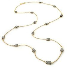 "RARITIES 48"" VERMEIL  BLACK RUTILATED QUARTZ STATION NECKLACE HSN $579.90"