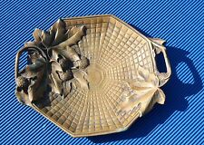 ART NOUVEAU COUPE BRONZE PATINE DOREE OCTOGONALE   DECOR  FEUILLES ET FRUITS