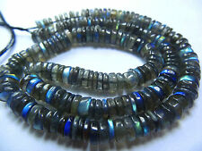 """130.CT 16"""" Blue Fire Labradorite SMOOTH TYRE SHAPE  BEADS Fine Quality 5--6 MM"""