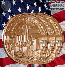 3 Rounds Freedom Tower 1 oz .999 Copper Round