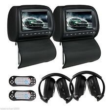 "Dual 9"" Headrest Car DVD Player with Zipper Screen Cover Games+IR Headphone"