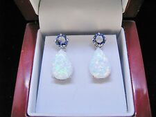 Tanzanite Fire opal Combination Premium Drop/Dangle Earring 925 Sterling silver