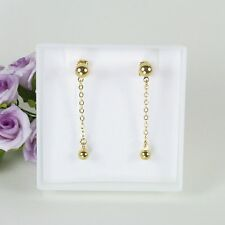 E10 18K Gold Filled Chain and Ball Dangle Earrings in Gift Box