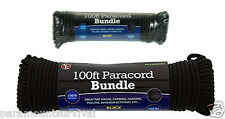 100 ft 550 Cord Paracord Lanyard Type III 7 Strand Black Camping Survival NEW
