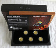 AUSTRALIA 2011 DREAMING SERIES 5 X  $5 .9999 GOLD PROOF COLLECTION - complete