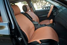 Seat Cover Shift Knob Belt Steering Wheel Brown PVC Leather Sedan Suv Truck 3