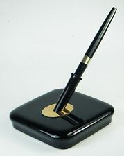 Vintage Ballpoint Desk Pen FISHER SPACE PEN: Black Plastic & Gold, Glass Stand