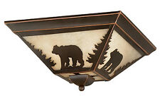 Ceiling Light Flush Mount Cabin Rustic Burnished Bronze Bear Lodge Decor NEW