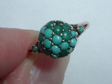 Antique Victorian 9ct Gold Turquoise Bomb Dome Ring Free Sizing