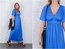 Vintage 70s Blue Hippie Dress Cape Sleeve Flutter Maxi Plunging V large L