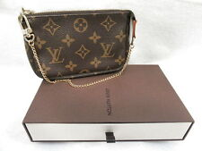 LOUIS VUITTON  BROWN COATED CANVAS MONOGRAM LV PETITE PURSE CHAIN STRAP