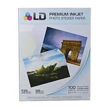 5pk LD Glossy Inkjet Photo Paper 8.5 X 11 100 pack - with Sticker 500 total pgs
