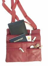Dark Red Leather Passport Travel Cross Body Messenger Satchel Handbag 4 Zip Bag