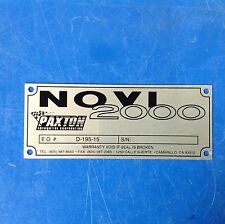 Paxton Supercharger Novi 2000 Name Plate