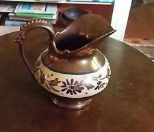 Antique Unusual Copper Luster Pitcher Or Gravy Jug Wide Pouring Spout  5 1/8""