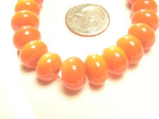 Handmade Lampwork Glass Spacer Rondelle Beads Orange 10MM x 6MM (20)
