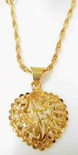 24K 24ct Yellow Indian Gold Plated Disco Chain Pendant Women Necklace Jewelry