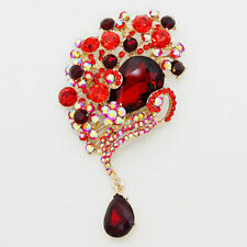 RED crystal/rhinestone fORAL   pave bouquet brooch fashion jewelry e 5
