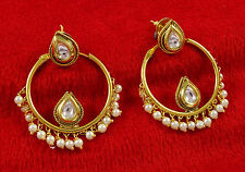Traditional Women Goldtone Drop Dangle Earring Set Indian Bollywood Jewelry