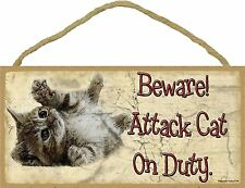 Novelty-Fun Wood Sign-CAT Plaque--Beware Attack Cat on Duty