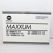 Minolta Maxxum 70-210mm 80-200mm Lens Mode D'emploi Francais & English O31160