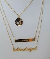 Name Plate Necklace Cursive Font 925 STERLING SILVER  CUSTOM Personal Jewelry