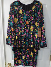 NWT VINTAGE CAROLE LITTLE DRESS  SIZE 14--- LONG SLEEVE  FLORAL