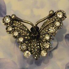 Dolly-Bijoux Fantaisie Grosse Bague Papillon Pavé Swarowsky Blanc Noire 45mm
