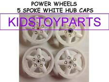 4 White POWER WHEELS 5 SPOKE HUB CAPS FOR JEEPS AND TRUCKS