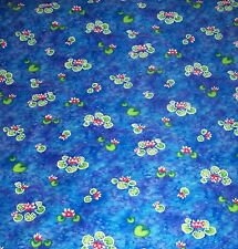 WATER LILLIES*LILY PADS*BLANK TEXTILES QUILT FABRIC*BLUE*GREEN*WHITE*RED*2 YARDS