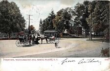 1907 Trolley Fountain Westchester Av White Plains NY postcard Westchester County