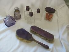 Antique vanity set purple enamel guilloche ormulu 7 pcs plus perfume bottles