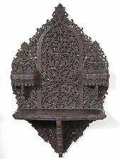 19th century Indian rosewood carved wall shelf. Carbisdale Castle