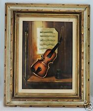 VINTAGE PAINTING OIL CANVAS LISTED VAN HOOT SIGNED VIOLIN SHEET MUSIC FRAMED