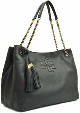 NWT Tory Burch Authentic Thea Slouchy Chain Shoulder Tote Leather Bag Black